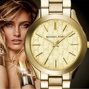 New Michael Kors MK3335 Gold Tone Slim Runway Lady